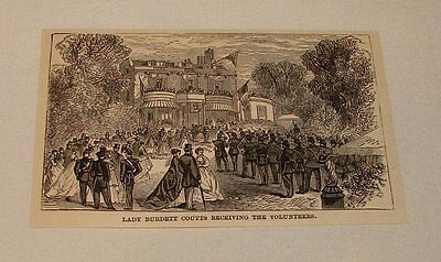 1886 magazine engraving ~ LADY ANGELA BURDETT-COUTTS RECIEVING