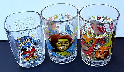 Glass Cup Shrek Third Walt Disney World Epcot Mickey Fiona Donkey Puss McD Lot