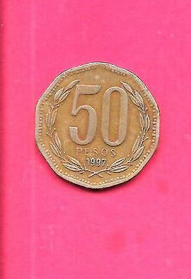 Chile Chilean Km219.2 1997 Vf-Very Fine-Nice Large 50 Pesos Coin