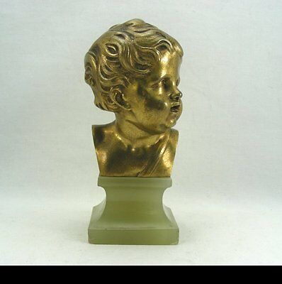 """Antique Bronze Bust of a Boy Child signed """"EW"""" on Green Onyx Marble Base"""