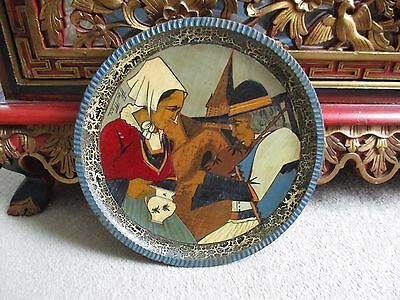 Rare Good Quality Quimper Paul Fouillen Wooden Dish Depicting Bretons 10.75 Inch