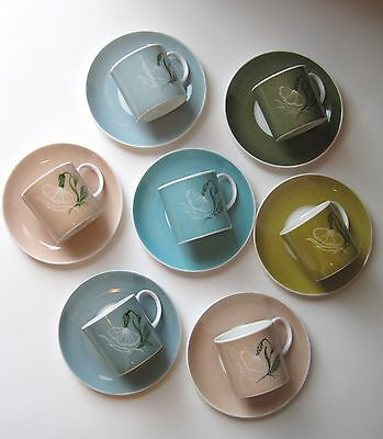 SUSIE COOPER 7 COFFEE CUPs & SAUCERs, 1950-65 CHINA PERIOD, DIFF COLORS, FLOWER