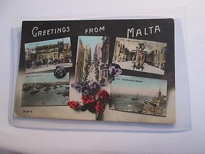 Postcard of Greetings from Malta (Posted 1916) Multiview