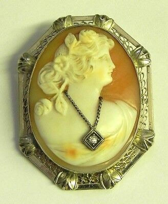 Shell Cameo in Ornate 14K White Gold Setting Lady Shown with Diamond Necklace