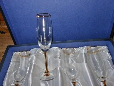 BOHEMIA CRYSTAL henry marchant wine glasses 24 carat gold dipped boxed