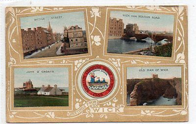 """""""""""postcard Multiview Wick,caithness,scotland,dated 1911"""""""""""