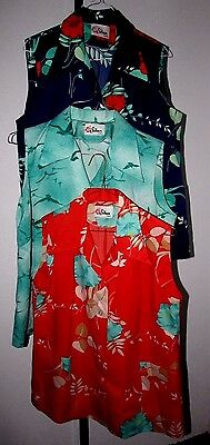 Lot of 3 VINTAGE  RAYON WOMENS HAWAIIAN SHIRT TOP Button Front & Pockets sz L