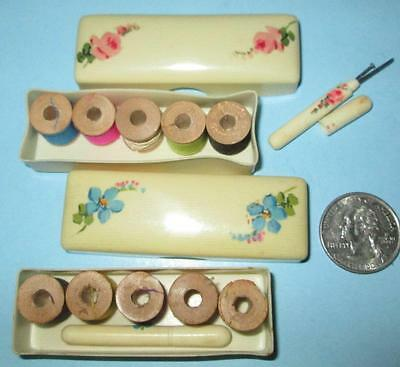 """Sew1 Vintage Two Little Celluloid Boxed Sewing """"Kits"""" Needle & Thread Germany"""
