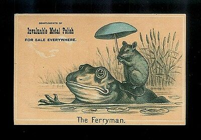 The Ferryman-Mouse Catches A Ride On Frog's Back-1880s Victorian Trade Card