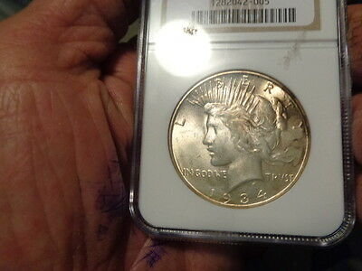 1934-D Peace Silver Dollar Ngc-Ms-63 Gold Toning Old Holder Key Date No Reserve