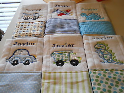 Personalized Appliqued Embroidered Baby Burp Cloth - Set of two for boy