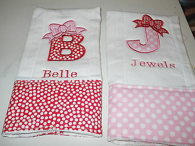 Personalized Appliqued or Embroidered Baby Burp Cloths set of three  girl