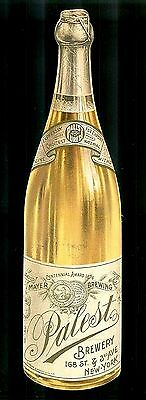 Big Bottle of Palest Champagne-Victorian Diecut Trade Card-Mayer Brewery, NYC