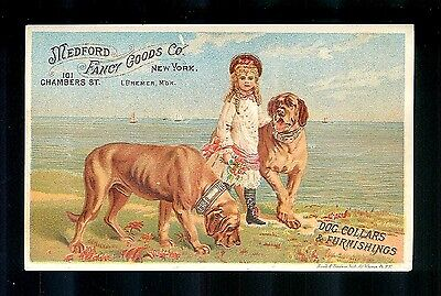 Little Girl & Her 2 Big Beautiful Hound Dogs-1880s Victorian Trade Card