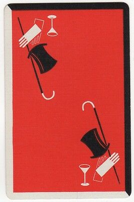 Playing Cards Single Card Vintage Top Hat White Gloves Walking Cane Stage Magic