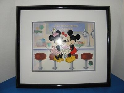 Rare Disney Sericel Mickey & Minnie Mouse Soda Shop Sweethearts Coa Le Sold Out