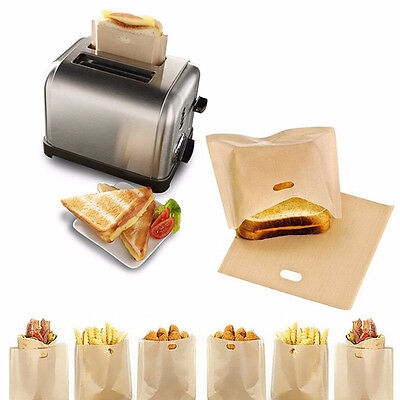 2Pcs Useful Reusable Non Stick Toaster Bags Toastie Sandwich Bread Toast Pockets
