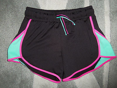 So Black/neon Accents Polyester Stretch Athletic Shorts: Size: 10/12