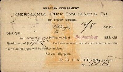 Germania Fire Insurance Co New York City 1885 Illustrated Pioneer Postal Card