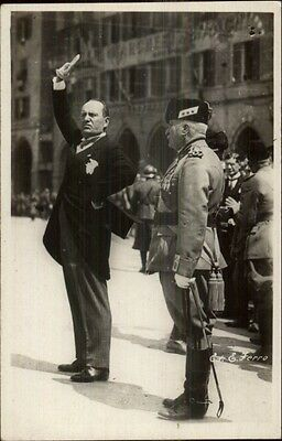 WWII Benito Mussolini in Street real Photo Photograph - Black Backside