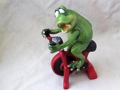 GREEN FROG EXERCISE STATIONARY RED BIKE WORKOUT RESIN Whimsical Sculpture