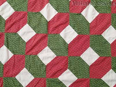 "ANTIQUE c1860-1880 Turkey Red, Green, & White QUILT TOP  78"" x 67"""