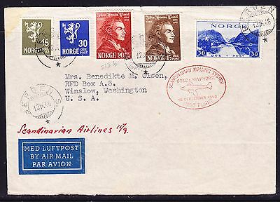 Norway 1946 Scandinavian Airline Oslo to New York Flight Cover