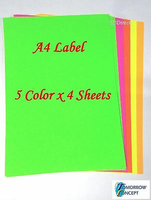 20 Sheets A4 Mixed Fluoro Color Self Adhesive Sticker Paper Label Laser Inkjet