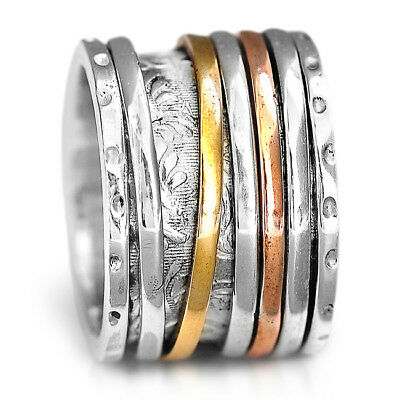 Wide Band Solid 925 Sterling Silver Spinner Ring 3 Tone Golden Spinning sz 6-9.5
