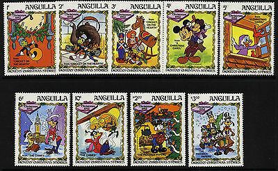 Anguilla 547-55 MNH Disney, Dickens Christmas Stories, Clock