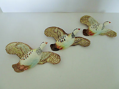 Set of Three Beswick Pink Legged Partridges Wall Plaques No 1188 - Excellent