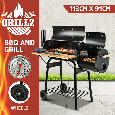 GRILLZ Offset BBQ Smoker Grill Charcoal Wood Barbeque Cooking Chamber Roaster