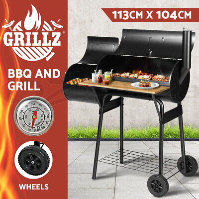 Grillz 2-in-1 Charcoal Smoker BBQ Grill Roaster Portable Outdoor Steel Oven Rack