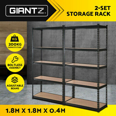 3x New Giantz Steel Warehouse Storage Rack Garage Shelving Racking Black