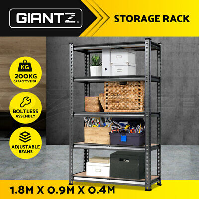 New Giantz 5-Shelves Steel Garage Warehouse Racks Storage Racking Shelving Grey
