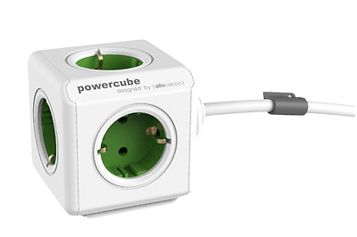 allocacoc PowerCube Extended inkl. 1,5 m Kabel grün Type F