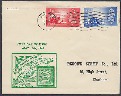 1946 Channel Islands Liberation Illustrated FDC; Guernsey M/C
