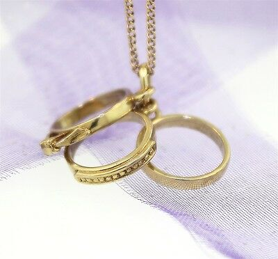 """BRIDAL 3 RINGS SET CHARM"" Guaranteed Genuine 9ct Gold"