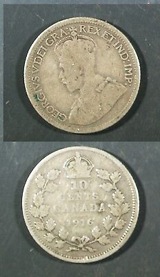 1916  Canada 10 cent SILVER -  Solid GOOD  stk#1v44
