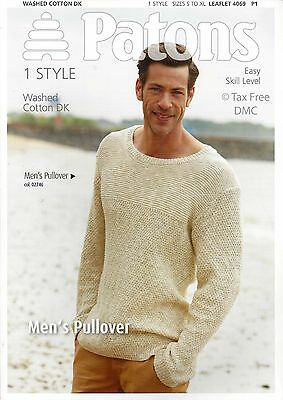 92f9005f4259c VAT Free Knitting PATTERN ONLY Patons DK Men s Adult Pullover Jumper 4069  New
