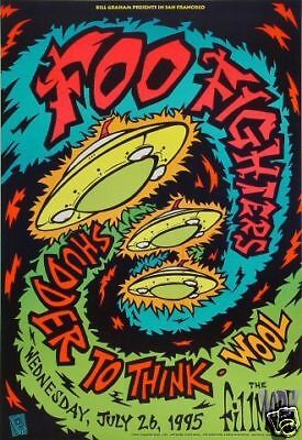 FOO FIGHTERS FILLMORE POSTER Shudder To Think WOOL F195 ORIG GLOW INK CHRIS SHAW