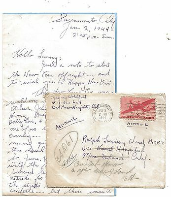WW2 Cover - Letter to US Navy Hospital Mare Island Redirected Submarine Crew