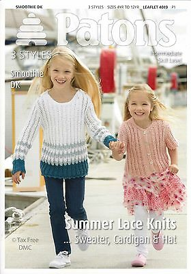 dceb4509b7d6 VAT Free Knitting PATTERN ONLY Patons Summer Knits Sweater Cardigan Hat  4019 New