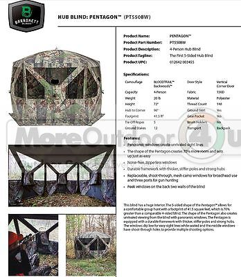 NEW PT550BW Barronett Blinds HUGE 5 Sided 4 Man Pentagon Hunting Hub Blind
