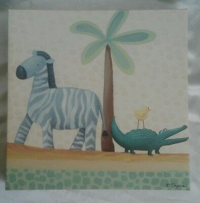 "Baby Room Art Zebra, alligator, chic on Canvas Painting by Sapna 9"" x 9"" square"