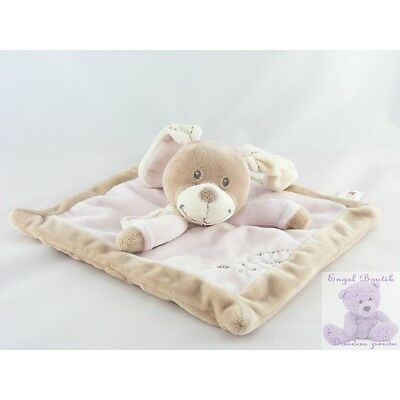 11127 - Doudou plat carré lapin beige rose NICOTOY - Security blanket