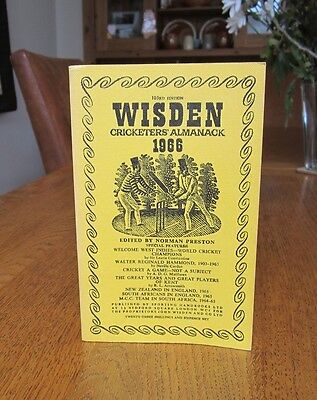 Wisden cricketers almanack 1966, soft cover. 103rd year