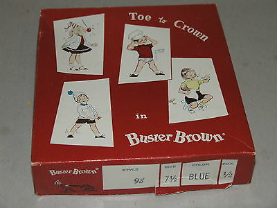 Buster Brown Toe To Crown Socks Box Vintage 1950's, Great Graphics Kids