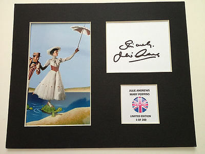 Limited Edition Julie Andrews Mary Poppins Signed Mount Display AUTOGRAPH