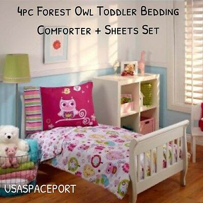 4pc Forest Hoot Owl Toddler Bed In A Bag Comforter Sheets